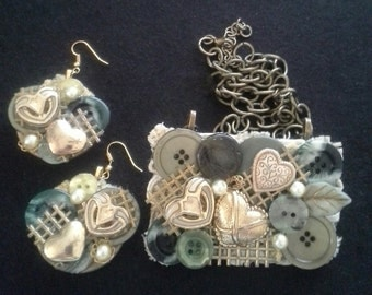 Assemblage Statement Button Necklace and Earring Set, Hearts and Green Tones, Vintage Inspired