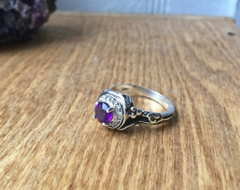 Amethyst and White Sapphires- Woodland Vine Halo Ring in Sterling Silver