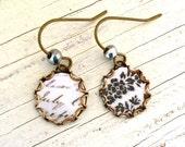 Small dangle earrings,black and white earrings,simple earrings,minimalist earrings. tiedupmemories