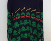 Vtg Pure Wool Navy Blue Sweater with allover Green Frog Croak Croak SZ L