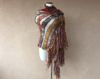 Knit Wrap Hand Knit Shawl in Rust Copper, Brick, Terra Cotta, Gold,  Brick, Brown Beige Taupe Long Fringe Earth Tones Rectangular Shawl