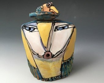 "Owl art, handmade one of a kind ceramic owl art,""Owl Person and the Nesting Rainbow Bird. Love is All"", 4-3/8"" tall"