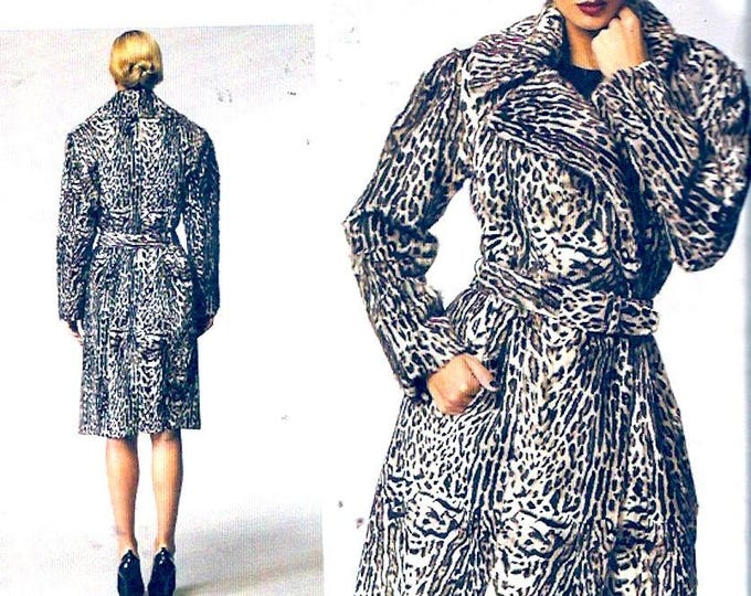 Donna Karan Coat New York Collection Designer sewing pattern Vogue 1365 size 6 to 14 UNCUT