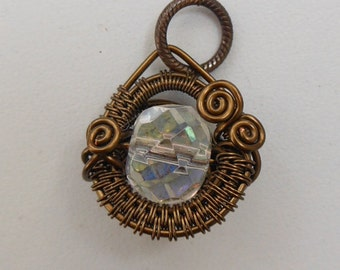 Round Woven Wire Pendant, Ice Clear Bead, Woven Wire Circle, Antique Brass Wire, Spirals, Crystal Sparkle, Winter Jewel