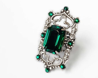 Green Gothic Ring Emerald Statement Ring Silver Filigree Ring Gothic Jewelry Green Swarovski Crystal Ring Octagon Large Cocktail Ring