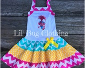 Poppy Troll Dress, Poppy Troll Birthday Party Dress, Poppy Troll Birthday Party Outfit, Spring Girl Dress