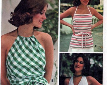 Vintage 1970s WRAP & Go Halter Sewing patternButterick 4291 Vintage 70s Disco Era Clothing Pattern Size 8 B 31.5 UNCUT