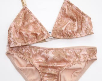 Silk & lace 2 pc lingerie set- blush pink and gold lace bralette bralet bra knickers panties panty with silk satin charmeuse luxury undies