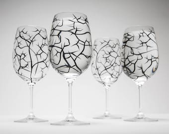 Winter Tree Branch Wine Glasses - Set of 4 hand painted wine glasses, Bare Branches, bare tree branches, painted glassware, black trees