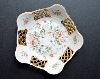 Vintage Decorative Porcelain Plate - MADE IN ROMANIA- Large Pink & Gold Floral Dish