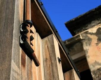 Wooden Gate Deadbolt Photograph - 8x10 Architecture Photo - Golden Wood - Blue Sky - Rusty Bolt - Historic Fortress Door - Vertical Lines