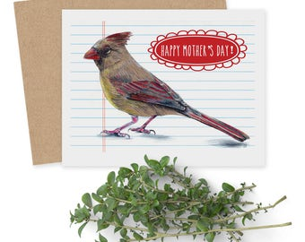 Mother's Day Card  - Female Cardinal  - Bird Card - Grandmother Card - Card for Mom - Illustrated Card - Card for Stepmom - Adopted Mom Card