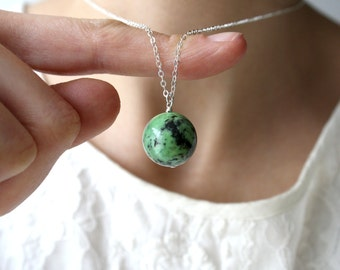 Chrysoprase Necklace . Stress Relief Jewelry . Round Pendant Necklace . Green Stone Necklace - Aphelion Collection