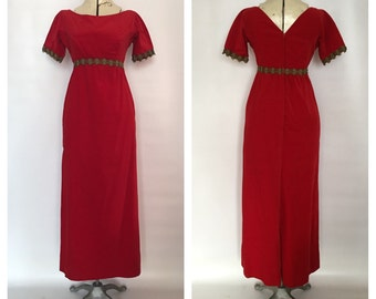 Red Velvet Gown Column Gown with Empire Waist and Metal Soutach Trim Custom made 1940's-1950's era Holiday Party Dress