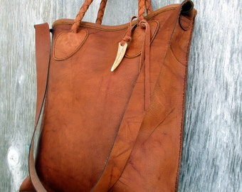 Saddle Montana Leather Tote Bag with Shoulder Strap by Stacy Leigh