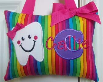 Tooth Fairy Pillow - Rainbow Stripe Purple and Pink - Girls Personalized - Boutique - Custom Made - Optional Tooth Chart