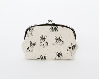 Cosmetic bag, beige and black Boston Terrier fabric, cotton pouch