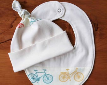 Bicycle Baby Hat, Bib Gift; Organic Cotton Baby Cap, Drool Bib; Modern Bike Baby Shower Gift; Cycling Baby Hat Teething Bib Set; Bike It