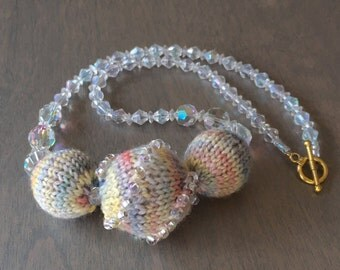 Beaded and Knit Necklace