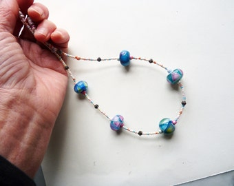 Handmade Lampwork Necklace with Glass Beads and Bali Silver Beads and Clasp - Blue Clown Necklace