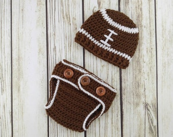 Crochet Baby Football Outfit - Hat and Diaper Cover Set - Crochet Baby Hat - Newborn Photography Prop - Photo Prop - Custom Team Colors