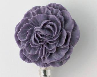 ID Badge Reel Purple Flower -  Peony - Resin Flower Cabochon on Retractable Badge Holder 342