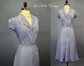 1930s Day Dress M L ~ Vintage 30s Calico Printed Sheer Cotton Crepe Frock