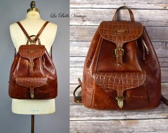 Vintage Distressed Leather Backpack ~ Saddle Brown Knapsack ~ El Campero Italian Embossed Bag ~ Brass Hardware