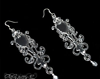 Laser Cut Gothic Earrings, Baroque Wine Glass Chandelier Design   in Clear Transparent Acrylic with Mirror Bead Drops, Goth Jewelry