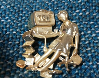 1980s TGIF Pin Brooch marked AJC Free Shipping