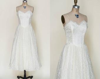 Vintage Tea Length Wedding Dress --- 1950s Lace Dress