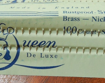 Vintage SECO QUEEN De Luxe Silk Sewing Pins Brass Nickel * Notions*  Quilting * Made in England