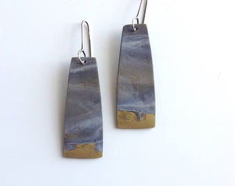 Grey and gold earrings, art jewelry, minimal, one of a kind, contemporary earrings