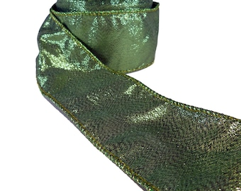 "Sparkly Blackened Green Lamé  Wired Ribbon  2.5"" Wide"