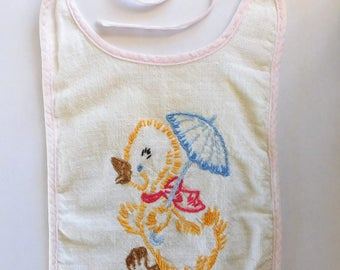 Vintage Baby Bib Embroidered Duck with Umbrella Feed the Baby Love the Duck
