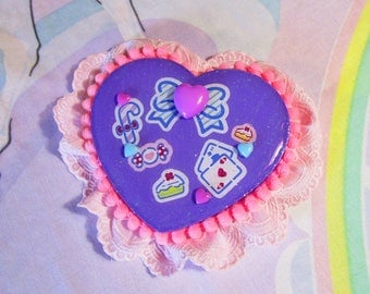 Heart brooch, fairy kei rosette Fresh Punch 80's party lolita accessories pin Miss Alphabet