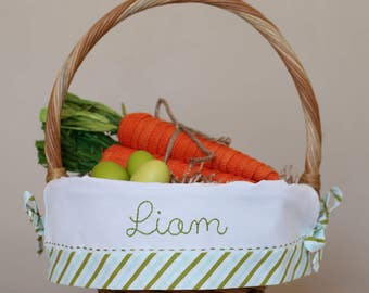 PRE-ORDER 2019 Personalized Easter Basket, Monogrammed Easter Basket Liner fits Pottery Barn Kids baskets, Boy Striped Easter Basket