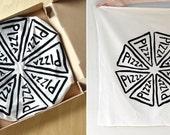 Hostess Gift Pizza Party Flour Sack Tea Towel, gift for her, secret santa gift for women gourmet mom housewarming gift stocking stuffer