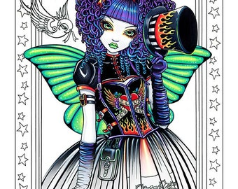 Set 9 - 15 Pages - FREE US SHIPPING - Coloring Pages - Big Eyed Fairy - Angel Art - Loose Leaf Coloring Book