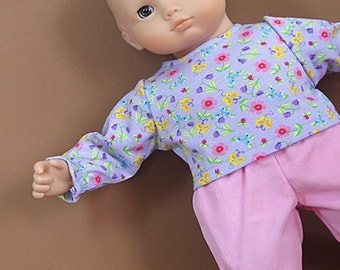 Bitty or Twin Doll Clothes - Pink Corduroy Pants and Lavender Flowers Top