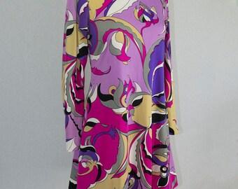 Wild Vintage Pucci-esque Mod Tunic Dress by La Chat Mini Dress Long Sleeve