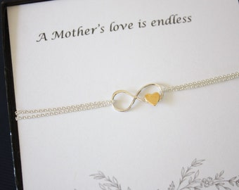 Mother Infinity Bracelet, Infinity Jewelry, Best friend Gift, Mothers Day Gift, Silver Bracelet, BFF, Gold Heart