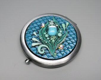 Mermaid Compact Mirror, Underwater Fantasy, Aqua Scales, Vintage Gems