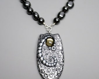 Unique Pendant Necklace, Polymer Clay with Vintage Smokey Mirrored Cabochon, Hematite Nugget Beads