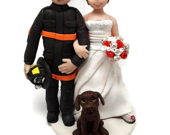 Wedding cake topper, custom wedding cake topper, fireman officer wedding cake topper, nurse cake topper
