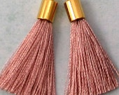 Silky Tassel Pendant, Blush, Gold Cap, 30 MM, 2 Pieces, AG308