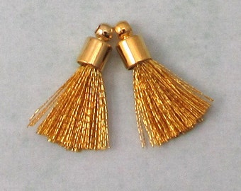 Tiny Silky Tassel Charm, Gold, Gold Cap, 17 MM, 2 Pieces, AG305