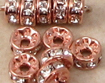 Rose Gold Rhinestone Rondelle, 5mm Crystal, 6 Pc. RG31