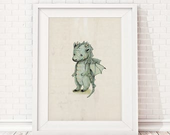 Dragon print, Boys room decor, boys wall decor, boys room wall art, art for boys room, kids room decor, inspirational quote, dragon nursery