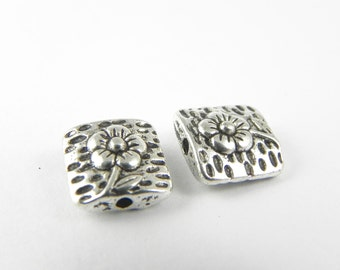 12 flower Beads 9mm x 9mm - Antiqued Silver - double sided - Square beads